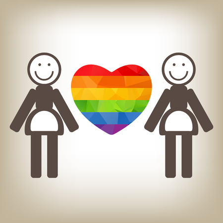 lesbian love: Lesbian couple and rainbow heart on a gray background. Illustration