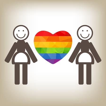 lesbienne: Un couple de lesbiennes et de coeur d'arc sur un fond gris.