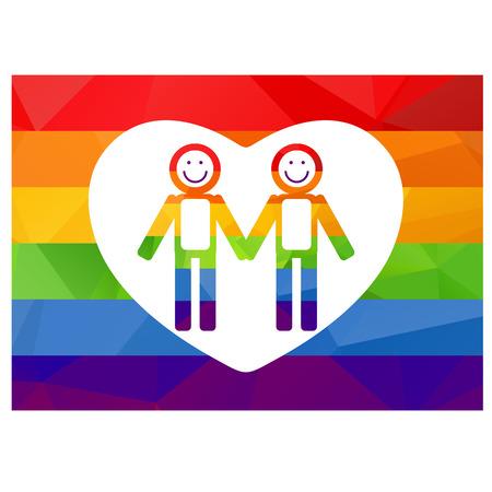 amor gay: Dos siluetas gay en un fondo del arco iris.