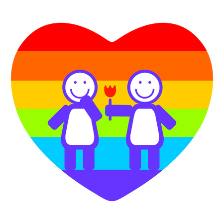 tolerance: Lesbian couple and rainbow heart on a white background.