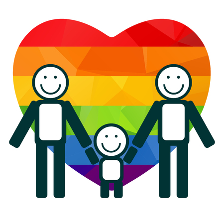 gay family: Gay family silhouettes on a rainbow heart background. Illustration