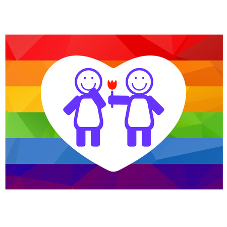 lesbian: Lesbian couple with flower on a rainbow background.