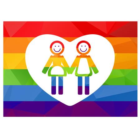 lesbienne: Couple lesbien silhouette sur un fond arc en ciel.