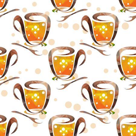 taza de té: Taza de té y una cuchara sobre un fondo blanco