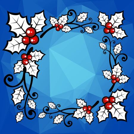 year curve: Holly berry border on a blue polygonal background.