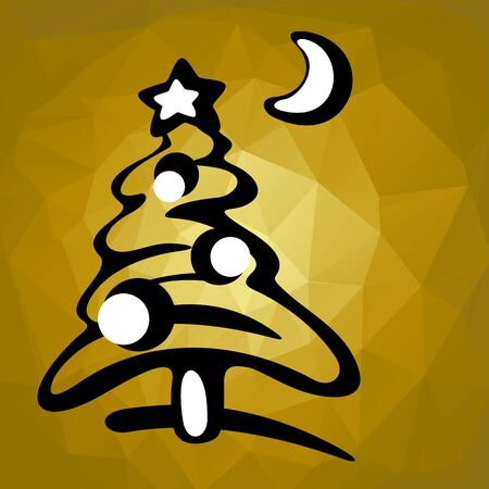 tree silhouette: Christmas tree silhouette on a gold polygonal background. Illustration