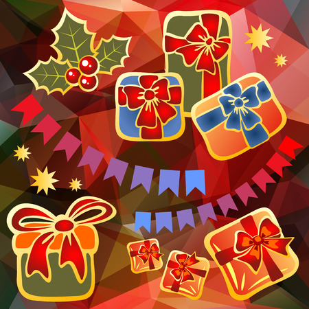 holly berry: Holly berry and Christmas toys on a red background. Illustration