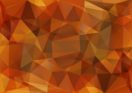 polyhedron: Polygonal background with light and dark brown triangles. Illustration