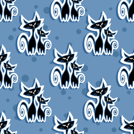 black silhouette: Stylized seamless pattern with two black cats silhouette. Illustration