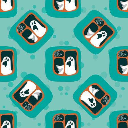 wraith: Halloween ghost in the window. Seamless pattern.