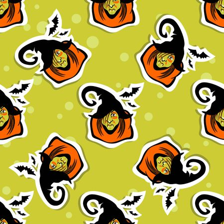 hag: Halloween old witch on a green background. Seamless pattern. Illustration