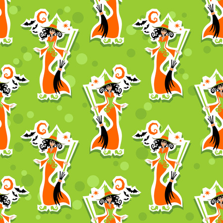 halloween witch: Halloween young witch on a green background. Seamless pattern.