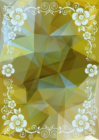 curve creative: Abstract floral border on a multicolored polygonal background.