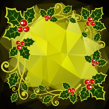 berries: Holly berry border on a dark green polygonal background. Illustration