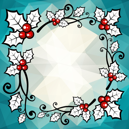 blue berry: Holly berry border on a blue polygonal background.