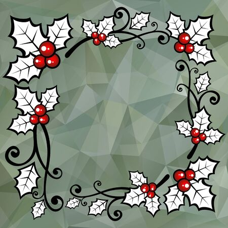 year curve: Holly berry border on a gray polygonal background.
