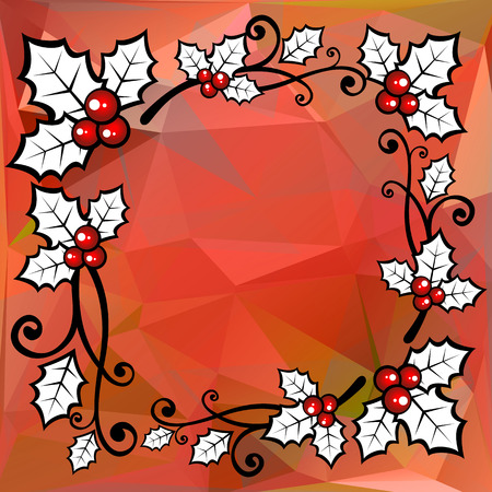 holly berry: Holly berry border on a red polygonal background. Illustration