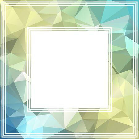 frame border: Abstract polygonal border with blue and light yellow triangles.