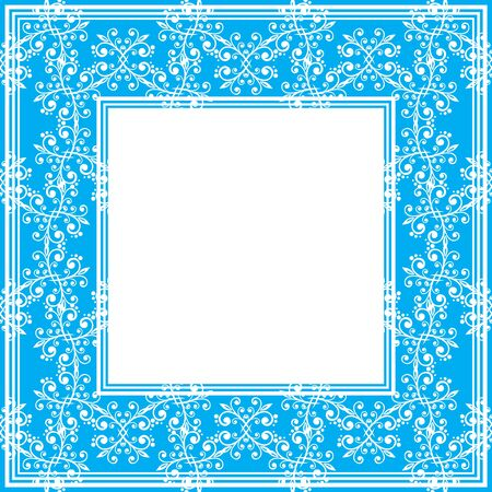 fine: Border with abstract floral fine curves on a blue background.