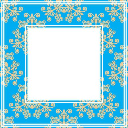 floral border: Border with abstract gray floral curves on a blue background. Illustration