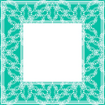 blue green: Border with abstract floral gentle curves on a blue-green background.
