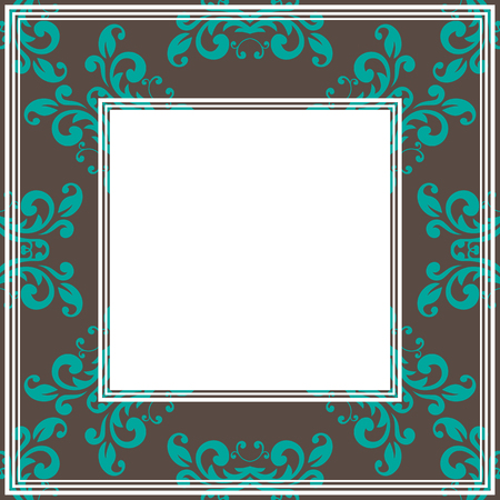 gentle: Border with abstract blue floral gentle curves on a brown background. Illustration