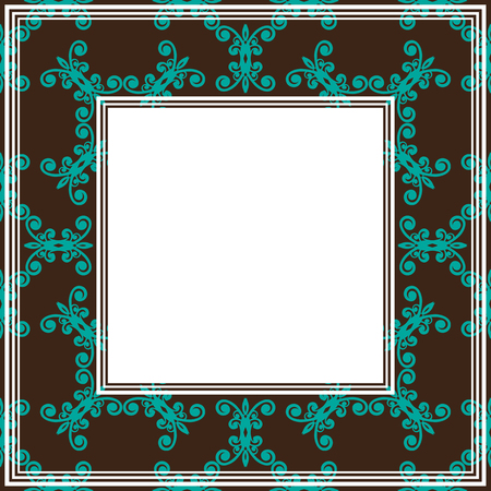 blue floral: Border with abstract blue floral  curves on a brown background.