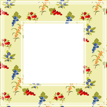 cranberry illustration: Berries on a light background. Fruit border.