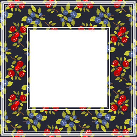 wild berry: Cranberry and blueberry on a black background. Fruit border.