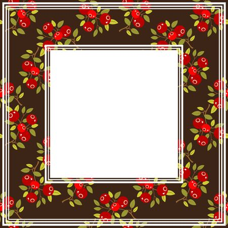 wild berry: Cranberry on a dark background. Fruit border. Illustration