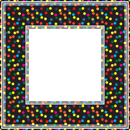 drawings image: Border with multicolored polka dots pattern on a black background.