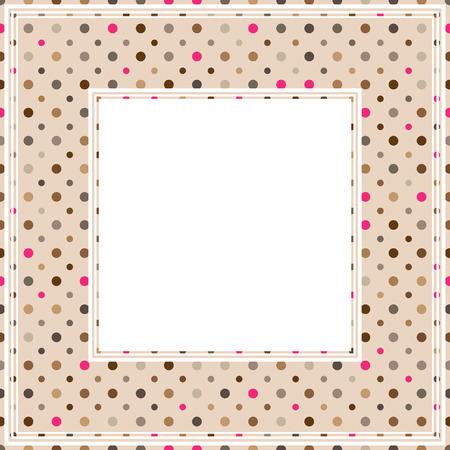 Fronteriza con el patrón de lunares multicolores sobre un fondo de color rosa.