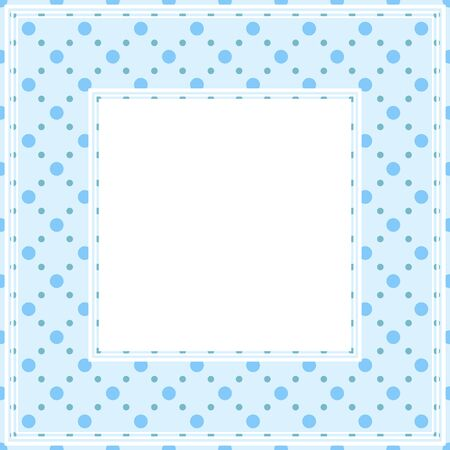 drawings image: Border with abstract blue polka dots pattern on a light background.