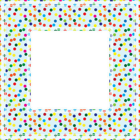 drawings image: Border with multicolored polka dots pattern on a light background. Illustration