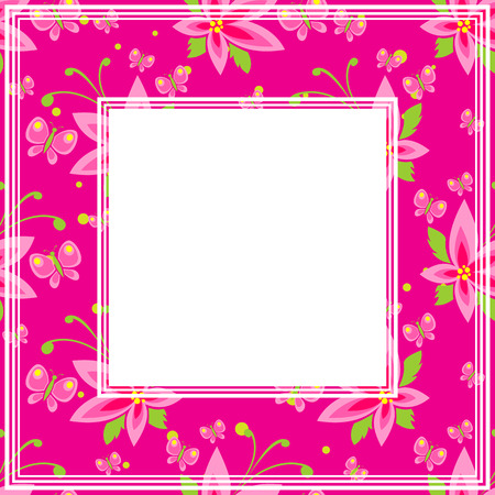 bordure florale: Abstract floral border on a bright pink background.