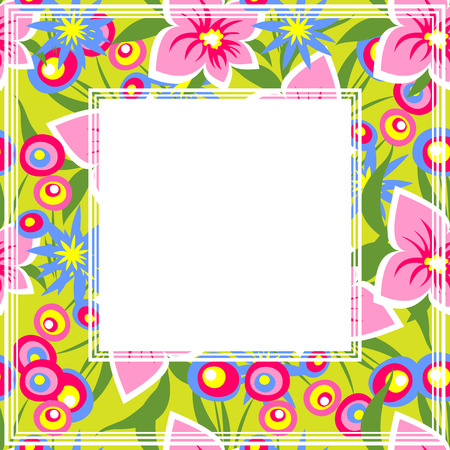 floral border: Bright floral border on a multicolored background. Illustration
