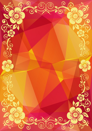 bordure florale: Abstract floral border on a pink-yellow polygonal background.