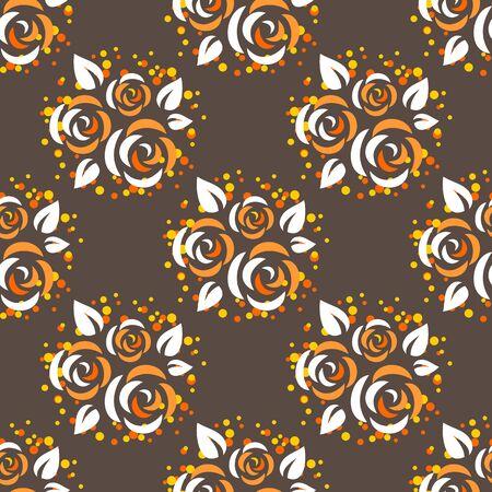 flower patterns: Stylized roses on a dark background. Seamless pattern, Illustration