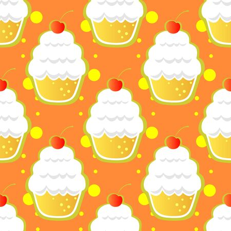 cup cakes: Abstract stylized cup cakes on an orange background. Seamless pattern,