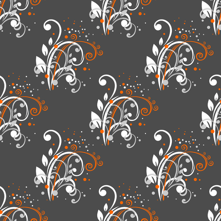 flower patterns: Abstract stylized flowers on a dark background. Seamless pattern, Illustration