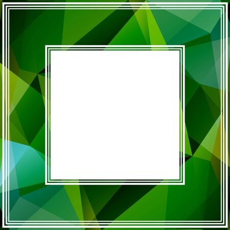 blue and green: Polygonal abstract border with light blue and green triangles. Illustration