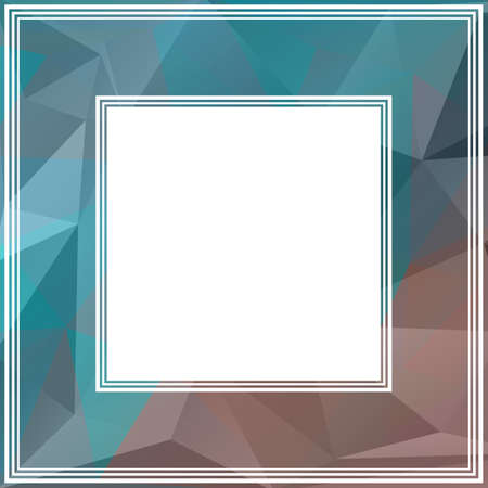 blue border: Polygonal abstract border with blue and brown triangles. Illustration