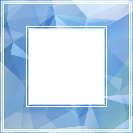 blue border: Polygonal abstract border with blue and light blue triangles. Illustration