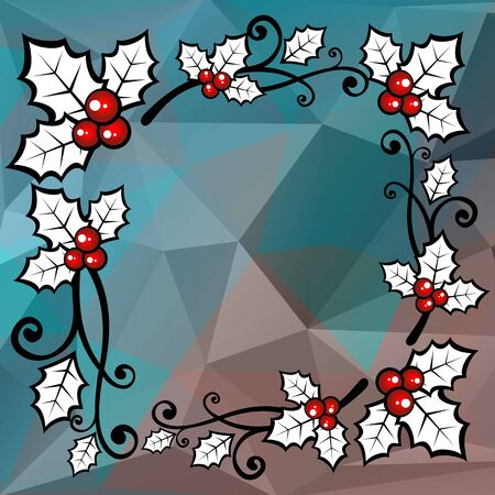 holly berry: Holly berry border on a dark blue polygonal background.