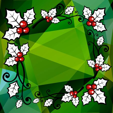 curve creative: Holly berry border on a bright green polygonal background.