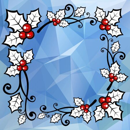 holly berry: Holly berry border on a blue polygonal background.