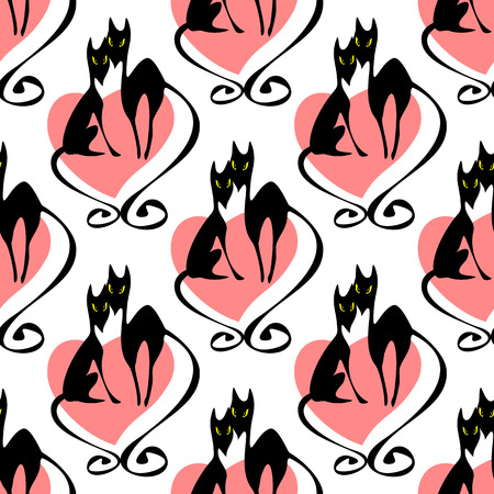 heart seamless pattern: Two black cats and heart. Seamless pattern. Illustration