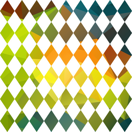 polyhedron: Polygonal abstract background with green and orange diamonds. Vectores