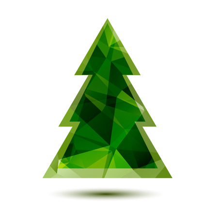 abstract tree: Polygonal abstract green Christmas tree on a white background.