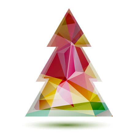 Polygonal bright abstract Christmas tree isolated on a white background.